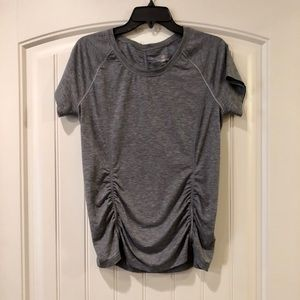 EUC Heather Gray Tangerine Ruched Workout Top